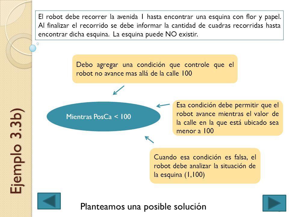 Ejemplo 3.3b) El robot debe recorrer la avenida 1 hasta encontrar una esquina con flor y papel. Al finalizar el recorrido se debe informar la cantidad