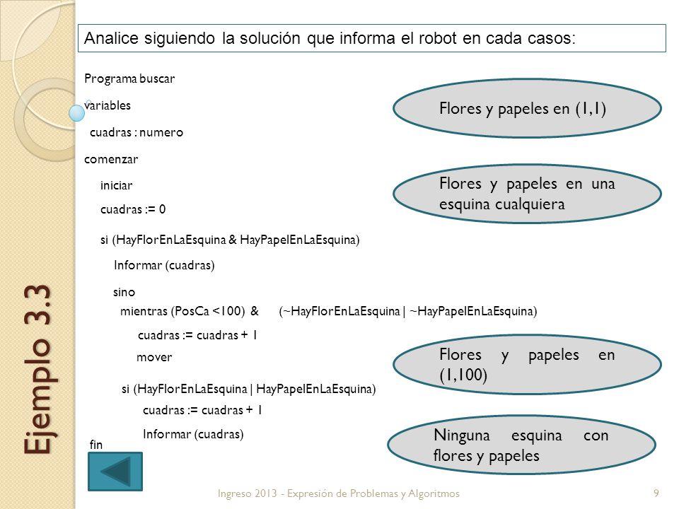 9Ingreso 2013 - Expresión de Problemas y Algoritmos Ejemplo 3.3 Analice siguiendo la solución que informa el robot en cada casos: Programa buscar vari