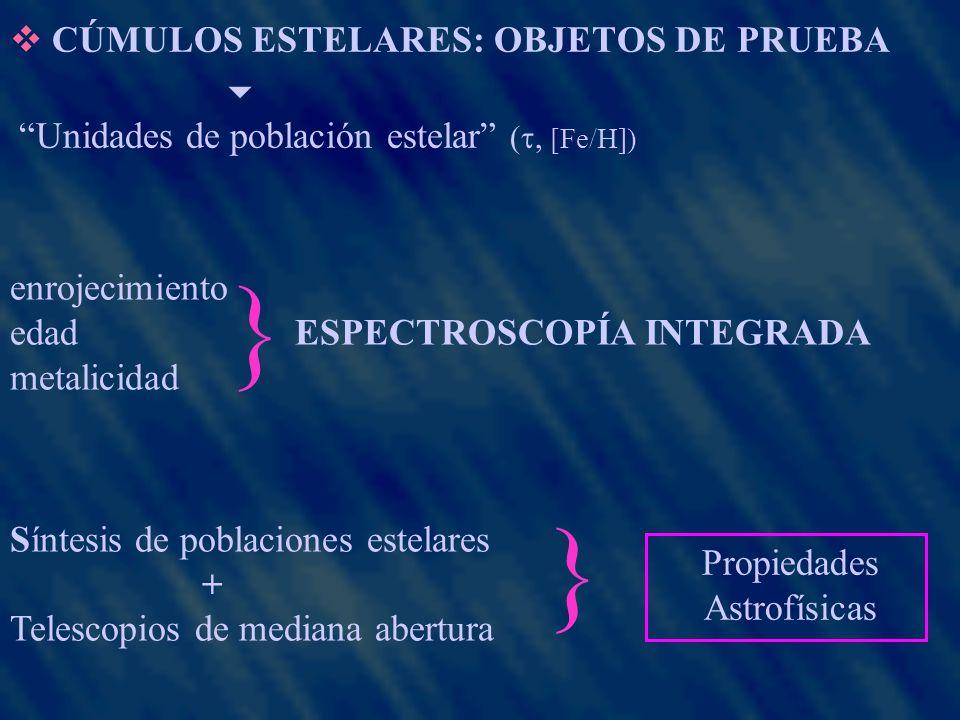 SELECCIÓN DE OBJETOS: 42 cúmulos abiertos Galácticos diámetro angular ( 4) estrellas 24 cúmulos estelares de la NmM OBSERVACIONES: CASLEO (2.15 m) 8 (VL) + 5 (NmM) comisiones (98-03) CTIO (1.5 m) 1 comisión (NmM, 03) {