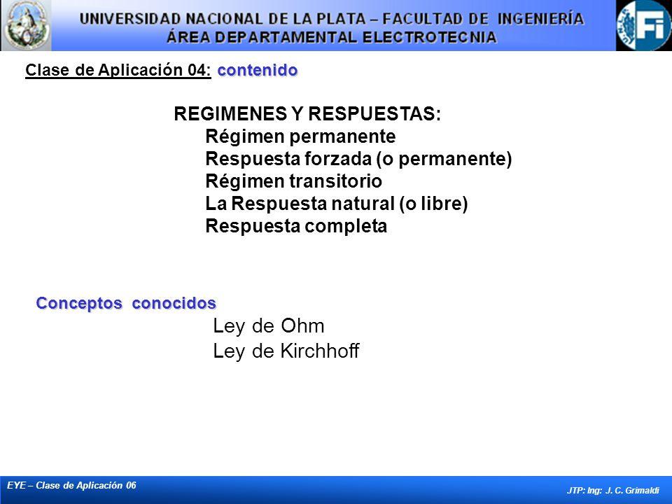 contenido Clase de Aplicación 04: contenido EYE – Clase de Aplicación 06 JTP: Ing: J. C. Grimaldi Conceptos conocidos Ley de Ohm Ley de Kirchhoff REGI