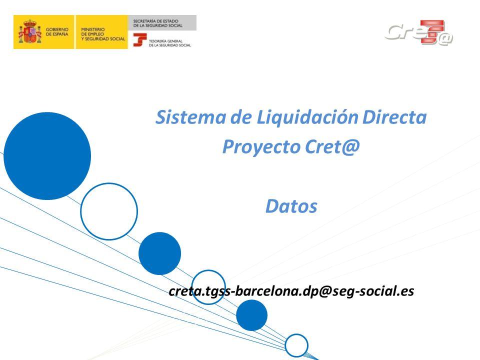 1 Sistema de Liquidación Directa Proyecto Cret@ Datos creta.tgss-barcelona.dp@seg-social.es