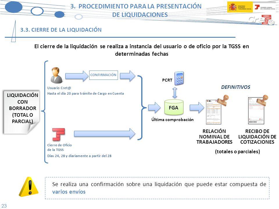 24 3.PROCEDIMIENTO PARA LA PRESENTACIÓN DE LIQUIDACIONES BORRADOR RELACIÓN NOMINAL DE TRABAJADORES Fichero de respuestas F.