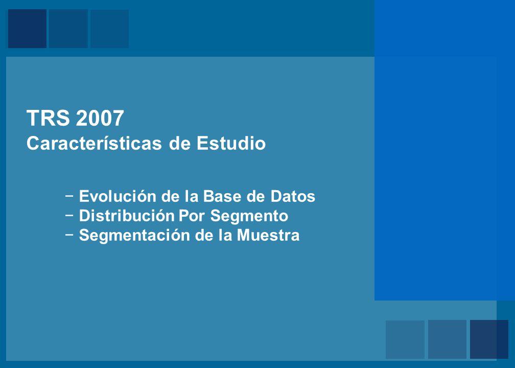 Mercer TRS 2007 Características de Estudio Evolución de la Base de Datos Distribución Por Segmento Segmentación de la Muestra