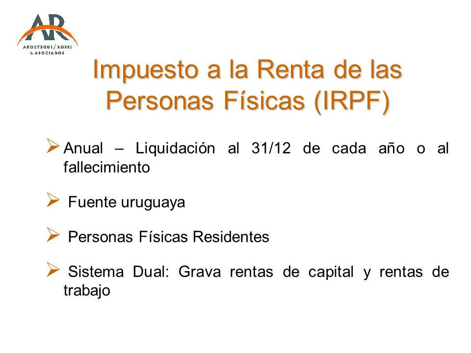 Impuesto a la Renta de las Personas Físicas (IRPF) Anual – Liquidación al 31/12 de cada año o al fallecimiento Fuente uruguaya Personas Físicas Reside