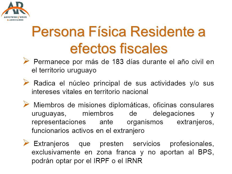 Persona Física Residente a efectos fiscales Permanece por más de 183 días durante el año civil en el territorio uruguayo Radica el núcleo principal de