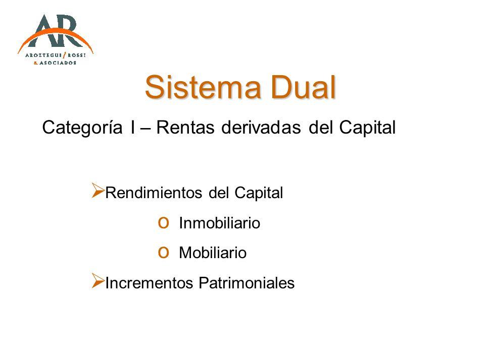 Sistema Dual Categoría I – Rentas derivadas del Capital Rendimientos del Capital o Inmobiliario o Mobiliario Incrementos Patrimoniales