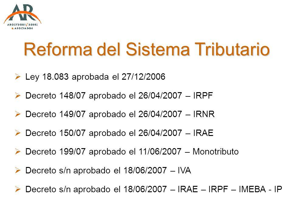 Reforma del Sistema Tributario Ley 18.083 aprobada el 27/12/2006 Decreto 148/07 aprobado el 26/04/2007 – IRPF Decreto 149/07 aprobado el 26/04/2007 –