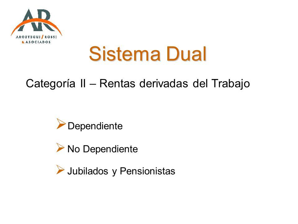 Sistema Dual Categoría II – Rentas derivadas del Trabajo Dependiente No Dependiente Jubilados y Pensionistas