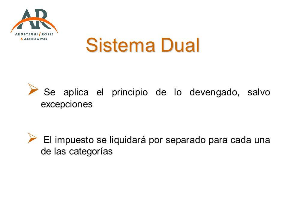 Sistema Dual Se aplica el principio de lo devengado, salvo excepciones El impuesto se liquidará por separado para cada una de las categorías