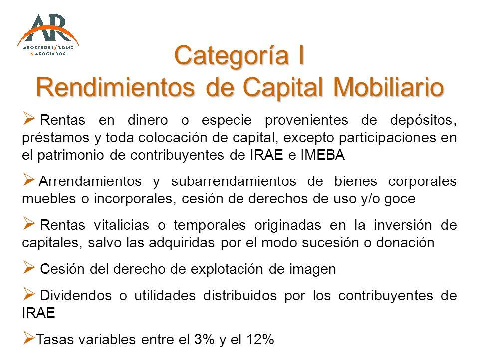 Categoría I Rendimientos de Capital Mobiliario Rentas en dinero o especie provenientes de depósitos, préstamos y toda colocación de capital, excepto p