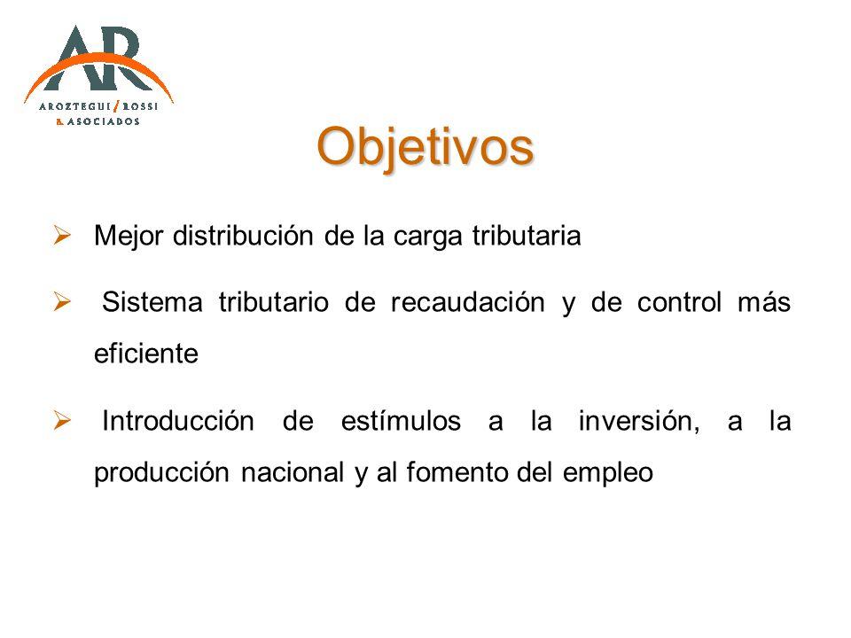 Objetivos Mejor distribución de la carga tributaria Sistema tributario de recaudación y de control más eficiente Introducción de estímulos a la invers