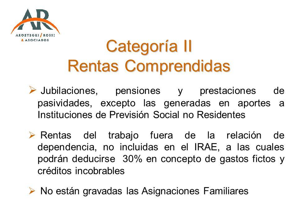 Categoría II Rentas Comprendidas Jubilaciones, pensiones y prestaciones de pasividades, excepto las generadas en aportes a Instituciones de Previsión