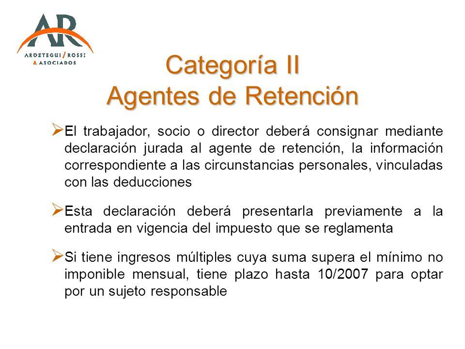 Categoría II Agentes de Retención El trabajador, socio o director deberá consignar mediante declaración jurada al agente de retención, la información
