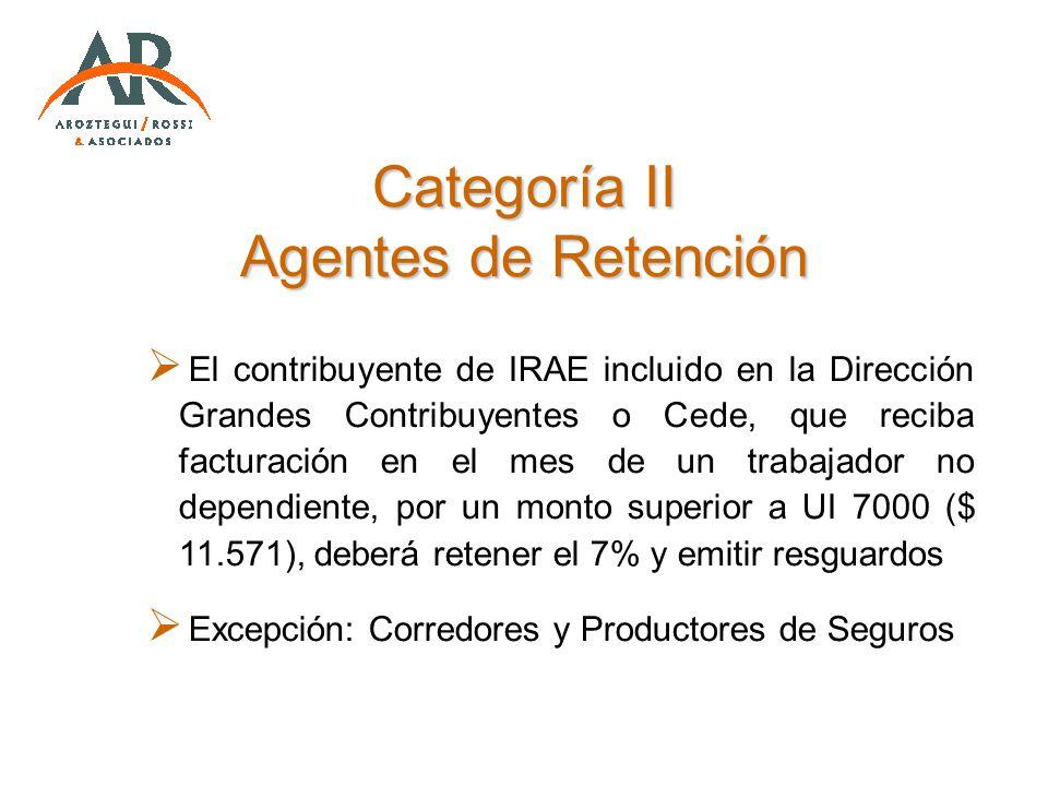 Categoría II Agentes de Retención El contribuyente de IRAE incluido en la Dirección Grandes Contribuyentes o Cede, que reciba facturación en el mes de