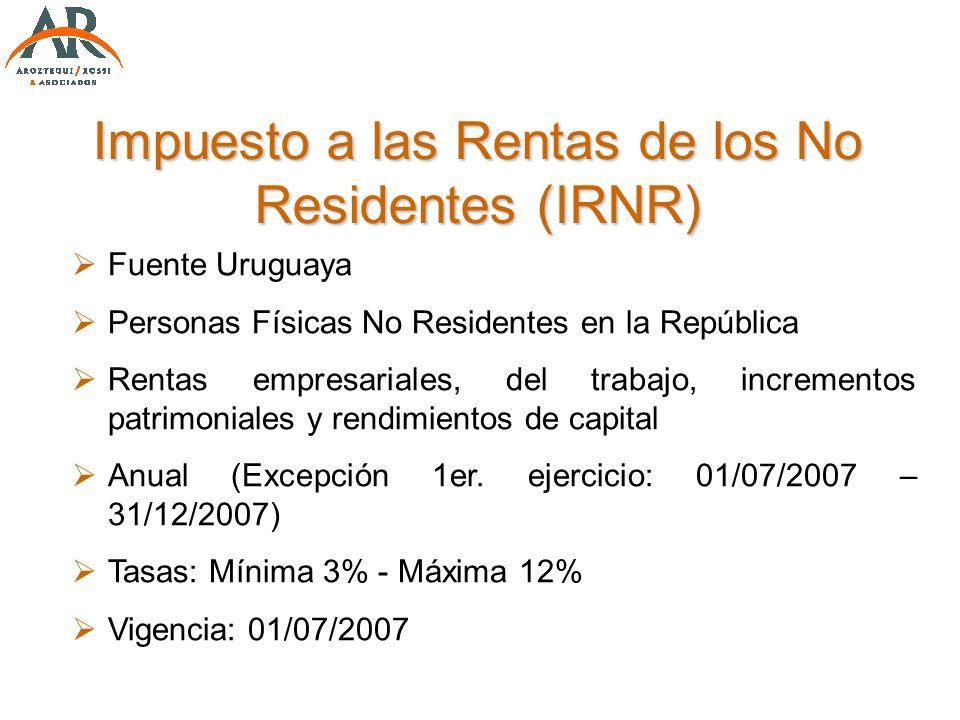 Impuesto a las Rentas de los No Residentes (IRNR) Fuente Uruguaya Personas Físicas No Residentes en la República Rentas empresariales, del trabajo, in