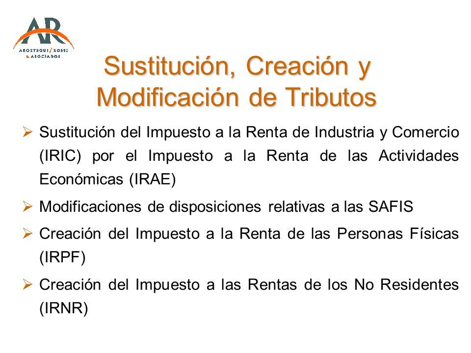 Sustitución, Creación y Modificación de Tributos Sustitución del Impuesto a la Renta de Industria y Comercio (IRIC) por el Impuesto a la Renta de las