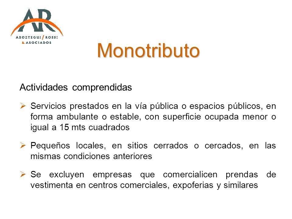 Actividades comprendidas Servicios prestados en la vía pública o espacios públicos, en forma ambulante o estable, con superficie ocupada menor o igual