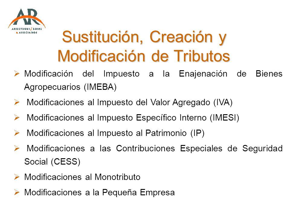 Sustitución, Creación y Modificación de Tributos Modificación del Impuesto a la Enajenación de Bienes Agropecuarios (IMEBA) Modificaciones al Impuesto