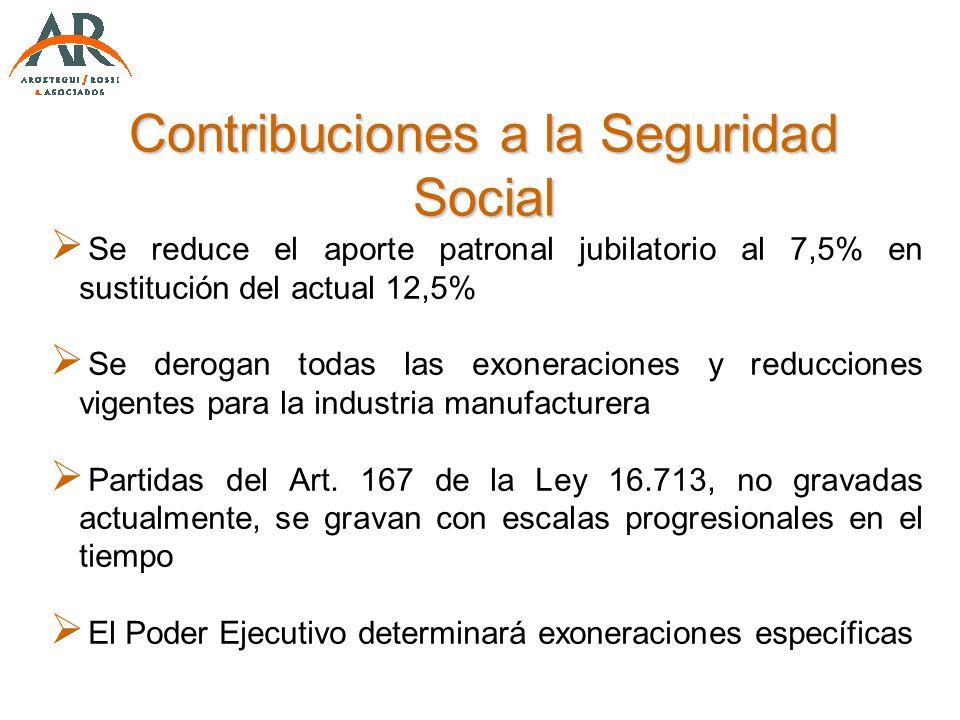 Contribuciones a la Seguridad Social Se reduce el aporte patronal jubilatorio al 7,5% en sustitución del actual 12,5% Se derogan todas las exoneracion