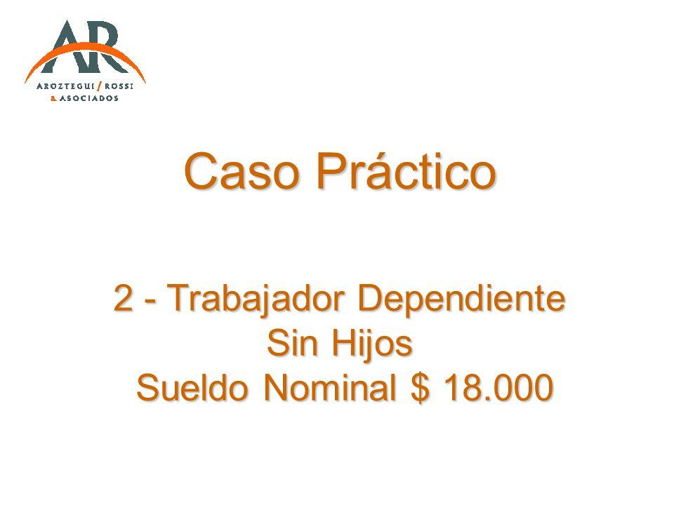 Caso Práctico 2 - Trabajador Dependiente Sin Hijos Sueldo Nominal $ 18.000