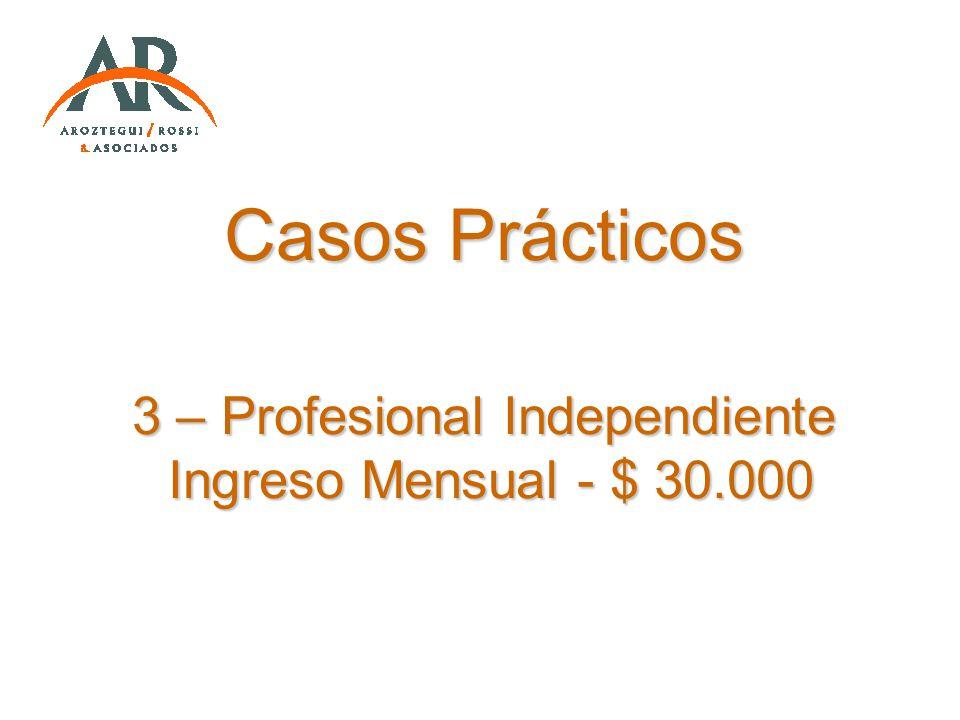 Casos Prácticos 3 – Profesional Independiente Ingreso Mensual - $ 30.000