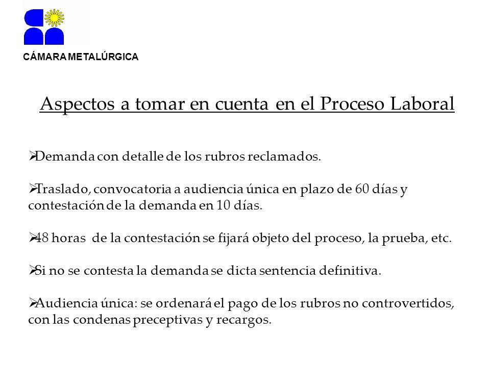 CÁMARA METALÚRGICA Aspectos a tomar en cuenta en el Proceso Laboral Demanda con detalle de los rubros reclamados.