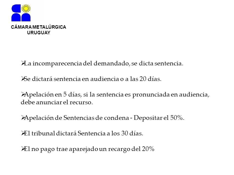 CÁMARA METALÚRGICA URUGUAY La incomparecencia del demandado, se dicta sentencia.