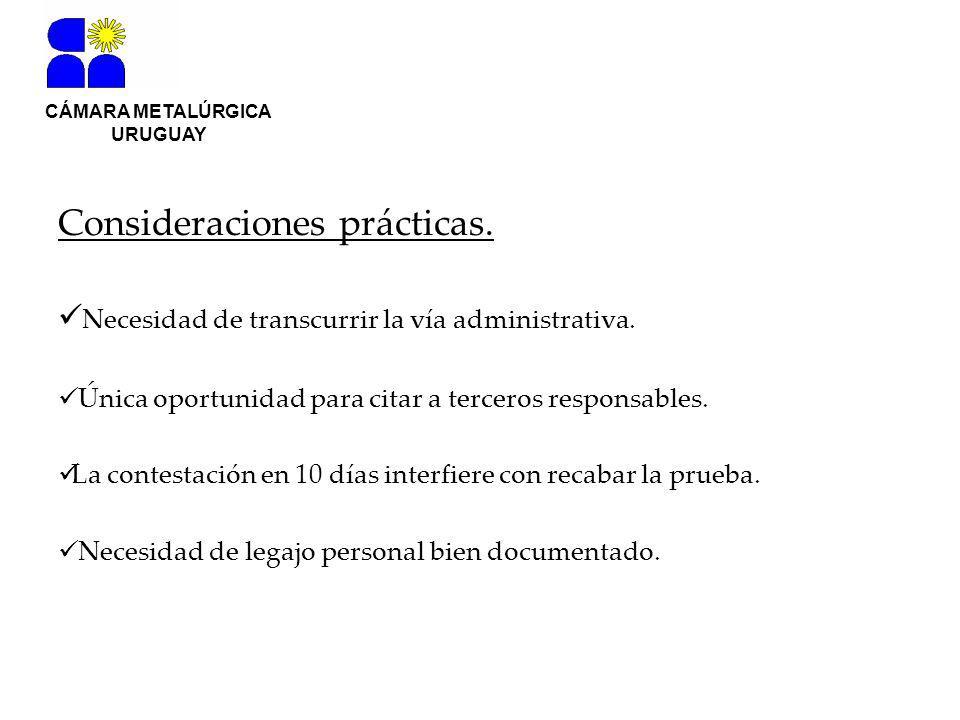 CÁMARA METALÚRGICA URUGUAY Consideraciones prácticas.
