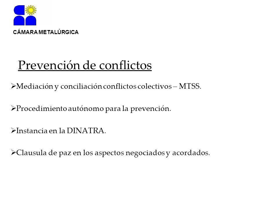 CÁMARA METALÚRGICA Prevención de conflictos Mediación y conciliación conflictos colectivos – MTSS.