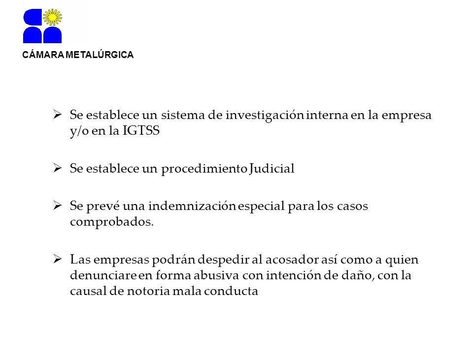CÁMARA METALÚRGICA Se establece un sistema de investigación interna en la empresa y/o en la IGTSS Se establece un procedimiento Judicial Se prevé una indemnización especial para los casos comprobados.