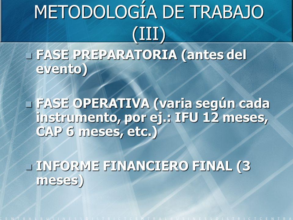METODOLOGÍA DE TRABAJO (III) FASE PREPARATORIA (antes del evento) FASE PREPARATORIA (antes del evento) FASE OPERATIVA (varia según cada instrumento, por ej.: IFU 12 meses, CAP 6 meses, etc.) FASE OPERATIVA (varia según cada instrumento, por ej.: IFU 12 meses, CAP 6 meses, etc.) INFORME FINANCIERO FINAL (3 meses) INFORME FINANCIERO FINAL (3 meses)