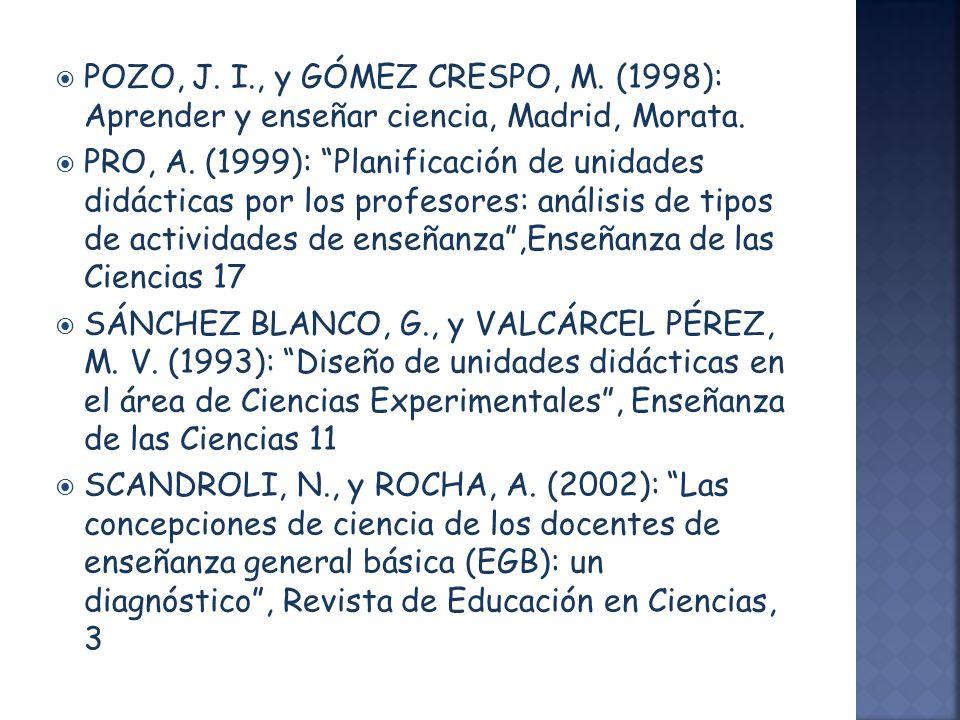 POZO, J. I., y GÓMEZ CRESPO, M. (1998): Aprender y enseñar ciencia, Madrid, Morata. PRO, A. (1999): Planificación de unidades didácticas por los profe