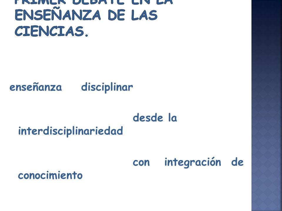 enseñanza disciplinar desde la interdisciplinariedad con integración de conocimiento