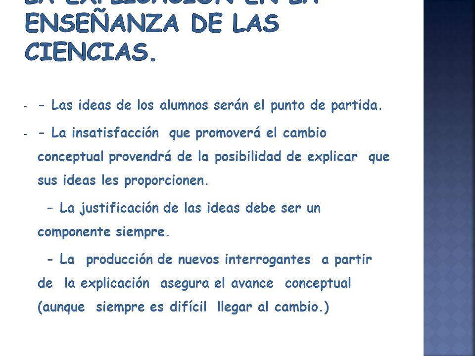 - - Las ideas de los alumnos serán el punto de partida. - - La insatisfacción que promoverá el cambio conceptual provendrá de la posibilidad de explic