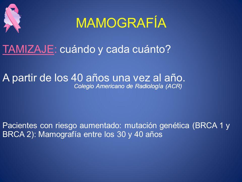 MAMOGRAFÍA TAMIZAJE: cuándo y cada cuánto? A partir de los 40 años una vez al año. Pacientes con riesgo aumentado: mutación genética (BRCA 1 y BRCA 2)