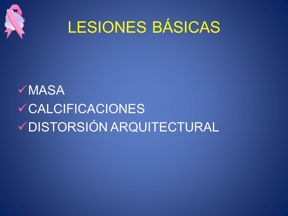 LESIONES BÁSICAS MASA CALCIFICACIONES DISTORSIÓN ARQUITECTURAL