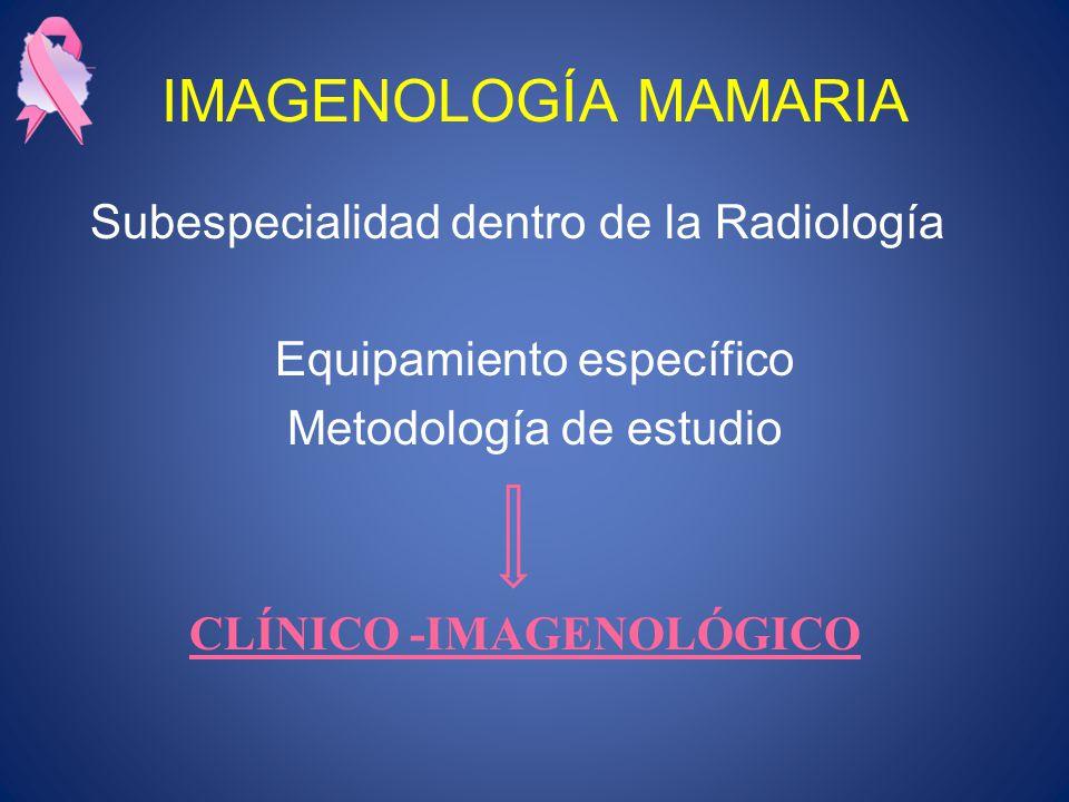 IMAGENOLOGÍA MAMARIA Subespecialidad dentro de la Radiología Equipamiento específico Metodología de estudio CLÍNICO -IMAGENOLÓGICO