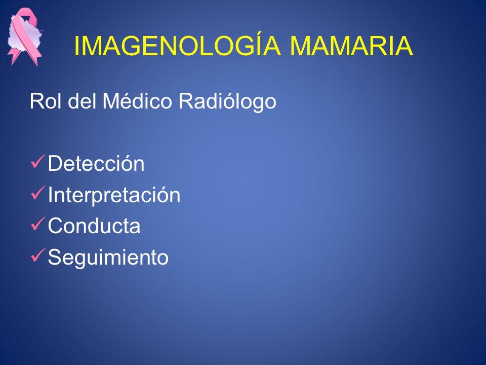 IMAGENOLOGÍA MAMARIA Rol del Médico Radiólogo Detección Interpretación Conducta Seguimiento