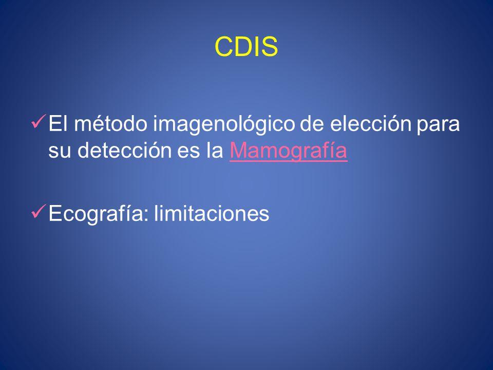 CDIS El método imagenológico de elección para su detección es la Mamografía Ecografía: limitaciones
