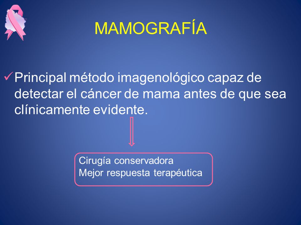 MAMOGRAFÍA Principal método imagenológico capaz de detectar el cáncer de mama antes de que sea clínicamente evidente. Cirugía conservadora Mejor respu
