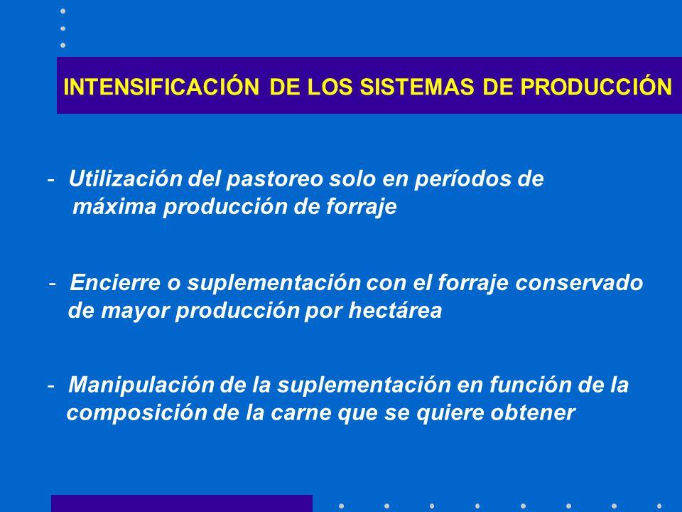 INTENSIFICACIÓN DE LOS SISTEMAS DE PRODUCCIÓN - Utilización del pastoreo solo en períodos de máxima producción de forraje - Encierre o suplementación con el forraje conservado de mayor producción por hectárea - Manipulación de la suplementación en función de la composición de la carne que se quiere obtener