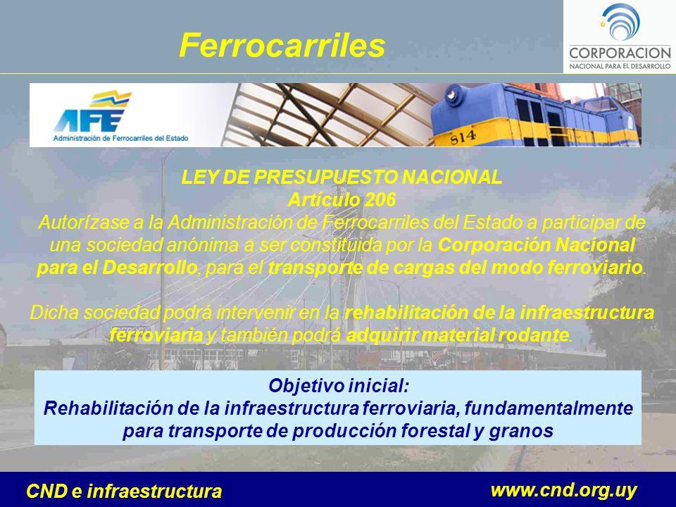 www.cnd.org.uy CND e infraestructura LEY DE PRESUPUESTO NACIONAL Artículo 206 Autorízase a la Administración de Ferrocarriles del Estado a participar