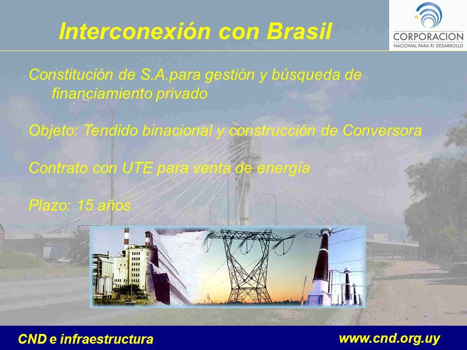 www.cnd.org.uy CND e infraestructura Interconexión con Brasil Constitución de S.A.para gestión y búsqueda de financiamiento privado Objeto: Tendido bi