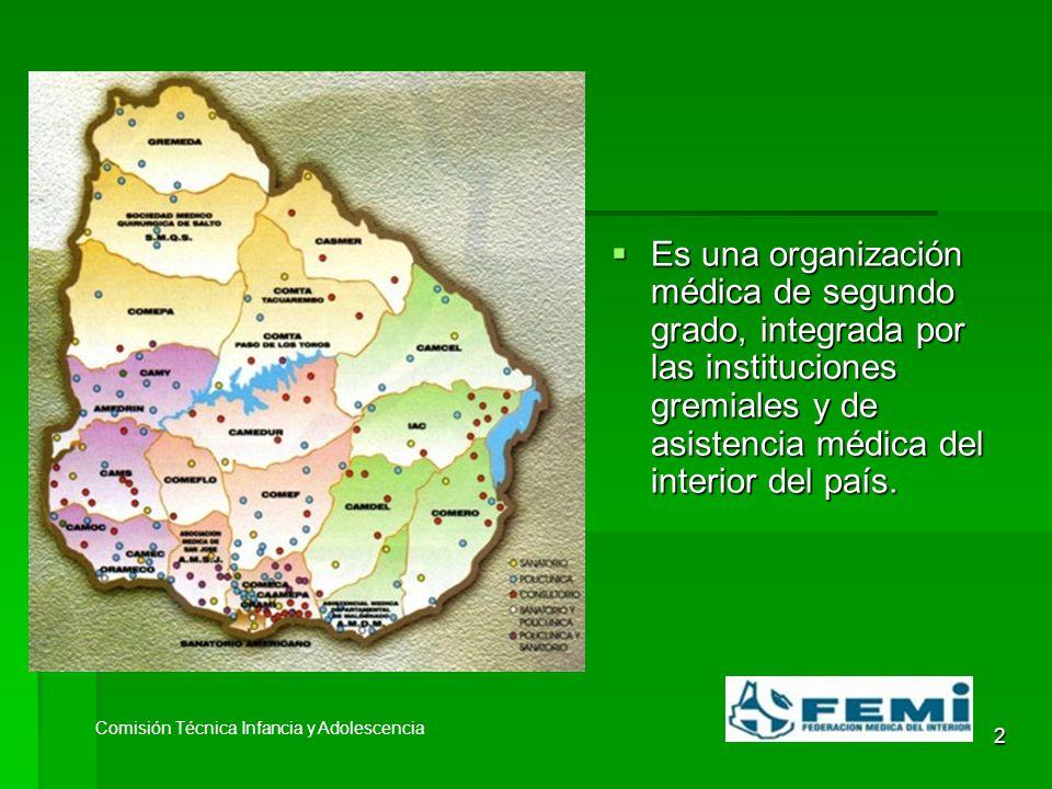 2 Es una organización médica de segundo grado, integrada por las instituciones gremiales y de asistencia médica del interior del país.