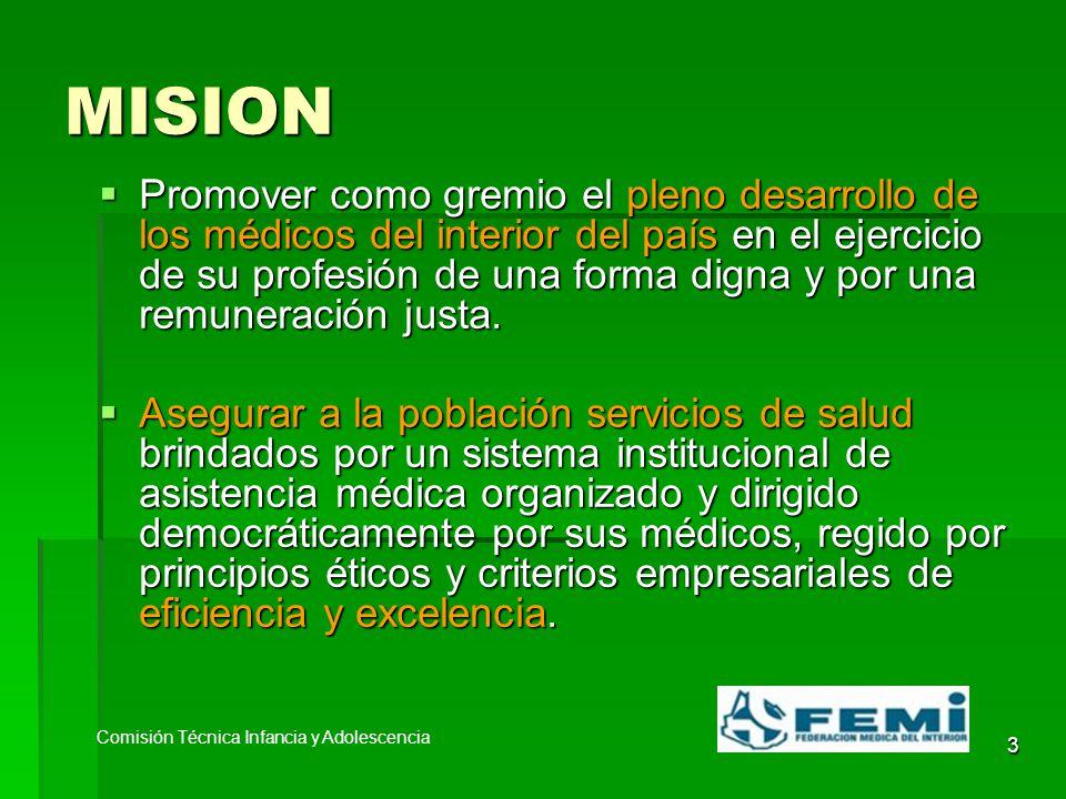 3 MISION Promover como gremio el pleno desarrollo de los médicos del interior del país en el ejercicio de su profesión de una forma digna y por una remuneración justa.