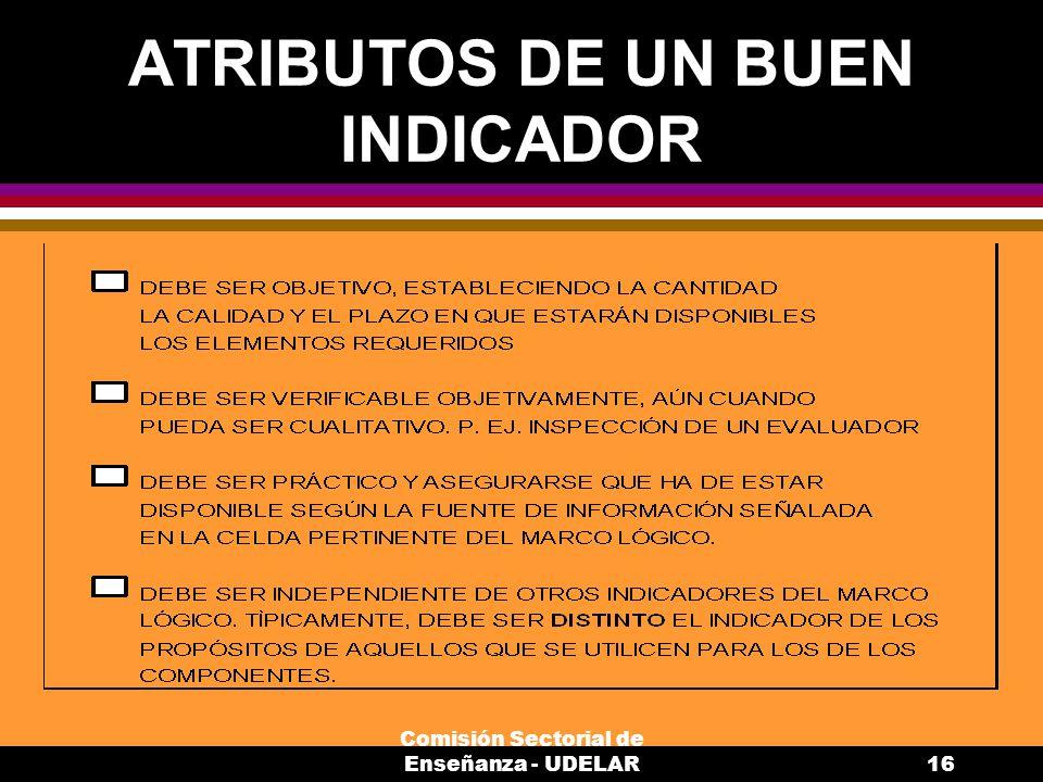 Comisión Sectorial de Enseñanza - UDELAR16 ATRIBUTOS DE UN BUEN INDICADOR