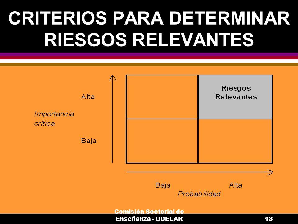 Comisión Sectorial de Enseñanza - UDELAR18 CRITERIOS PARA DETERMINAR RIESGOS RELEVANTES