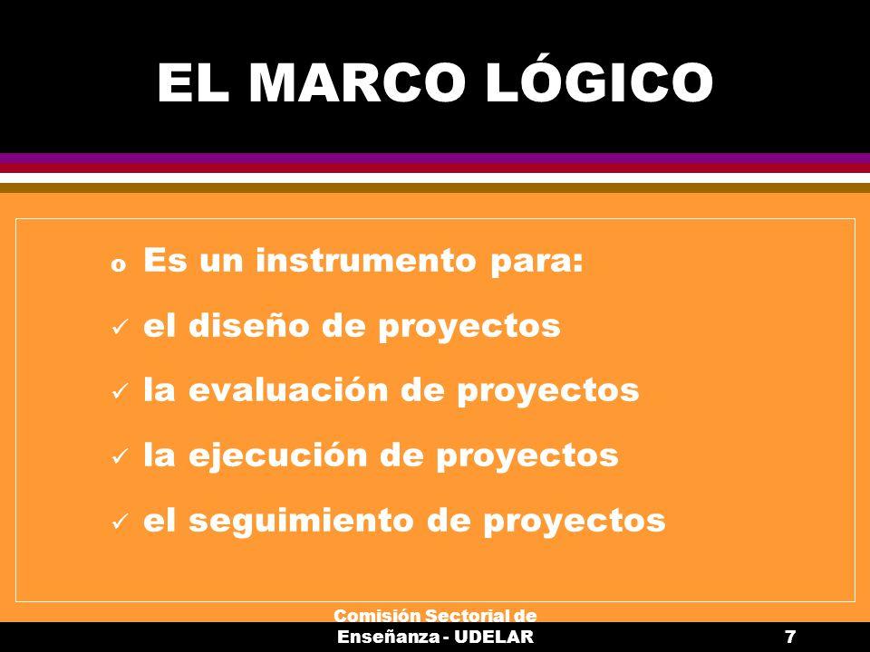 Comisión Sectorial de Enseñanza - UDELAR7 EL MARCO LÓGICO o Es un instrumento para: el diseño de proyectos la evaluación de proyectos la ejecución de proyectos el seguimiento de proyectos