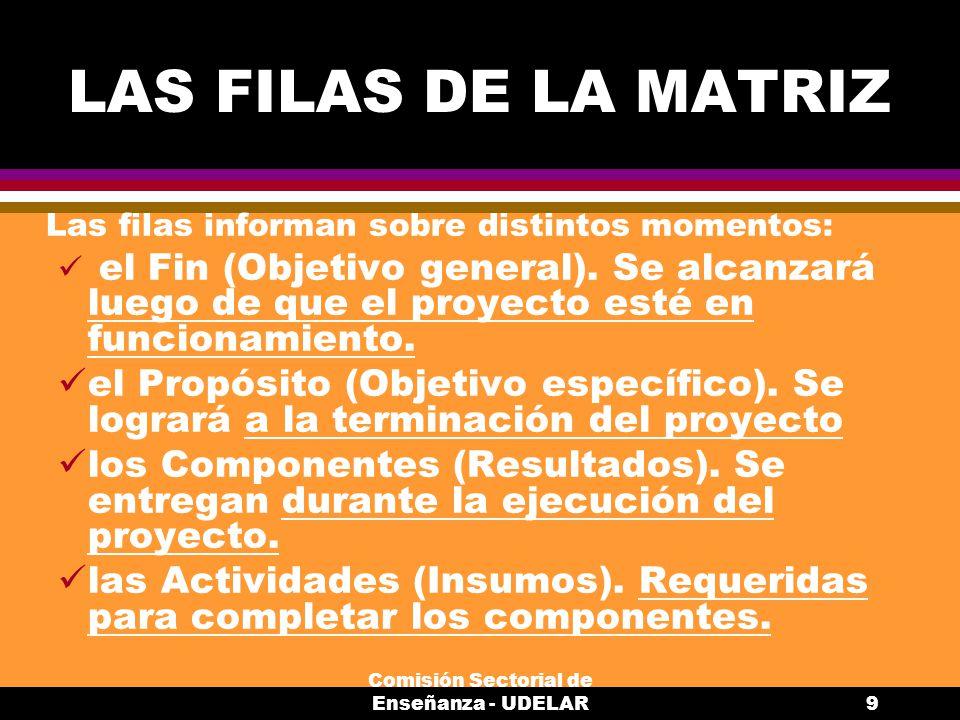 Comisión Sectorial de Enseñanza - UDELAR9 LAS FILAS DE LA MATRIZ Las filas informan sobre distintos momentos: el Fin (Objetivo general).