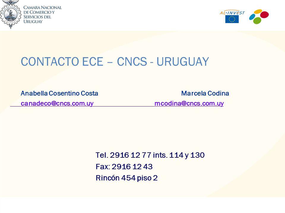 CONTACTO ECE – CNCS - URUGUAY Anabella Cosentino CostaMarcela Codina canadeco@cncs.com.uycanadeco@cncs.com.uy mcodina@cncs.com.uymcodina@cncs.com.uy Tel.